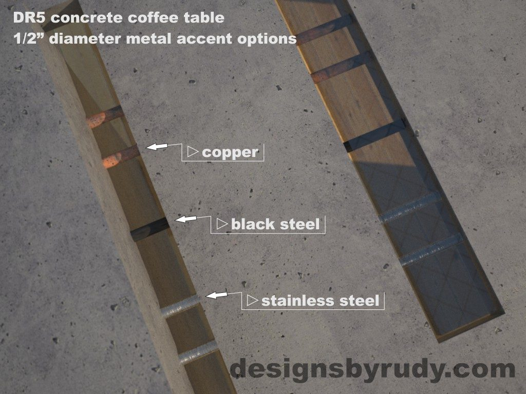 DR5 Gray Concrete Coffee Table with embedded metal rods and glass panes, metal options, Designs by Rudy
