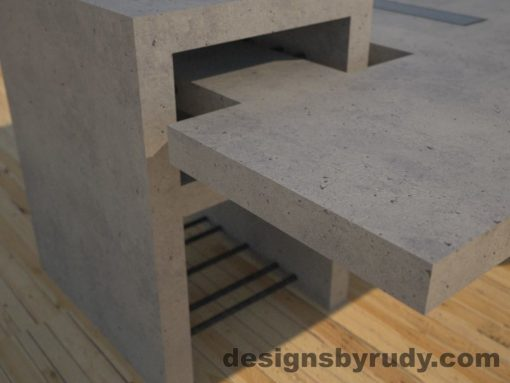 DR5 Gray Concrete Coffee Table with embedded metal rods and glass panes rear corner view, Designs by Rudy