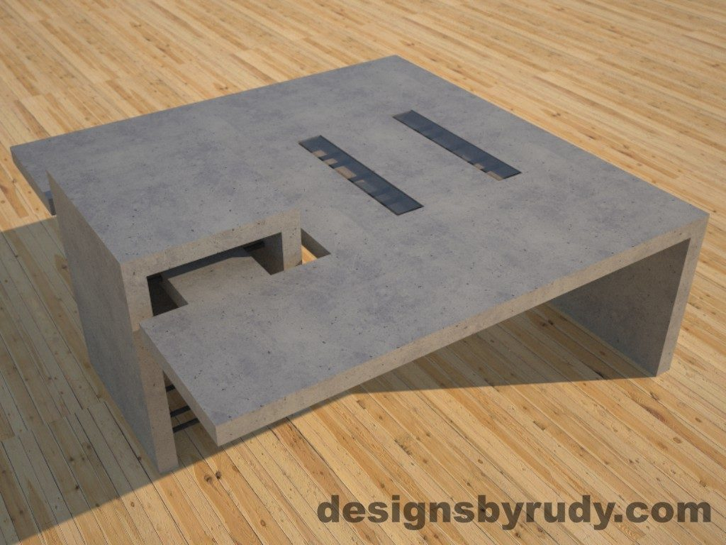 DR5 Gray Concrete Coffee Table with embedded metal rods and glass panes side angle view 2, Designs by Rudy