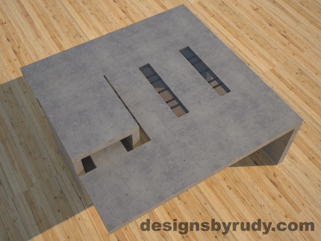 DR5 Gray Concrete Coffee Table with embedded metal rods and glass panes side angle view 3, Designs by Rudy