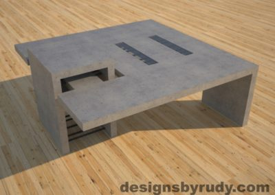 DR5 Gray Concrete Coffee Table with embedded metal rods and glass panes side angle view, Designs by Rudy