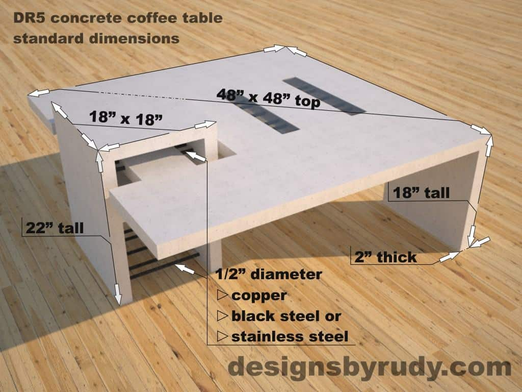 DR5 White Concrete Coffee Table with embedded metal rods and glass panes dimensions, Designs by Rudy