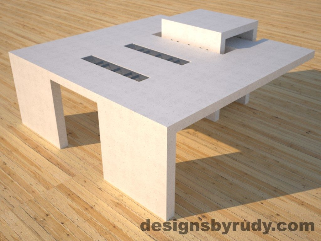 DR5 White Concrete Coffee Table with embedded metal rods and glass panes front corner angle view, Designs by Rudy