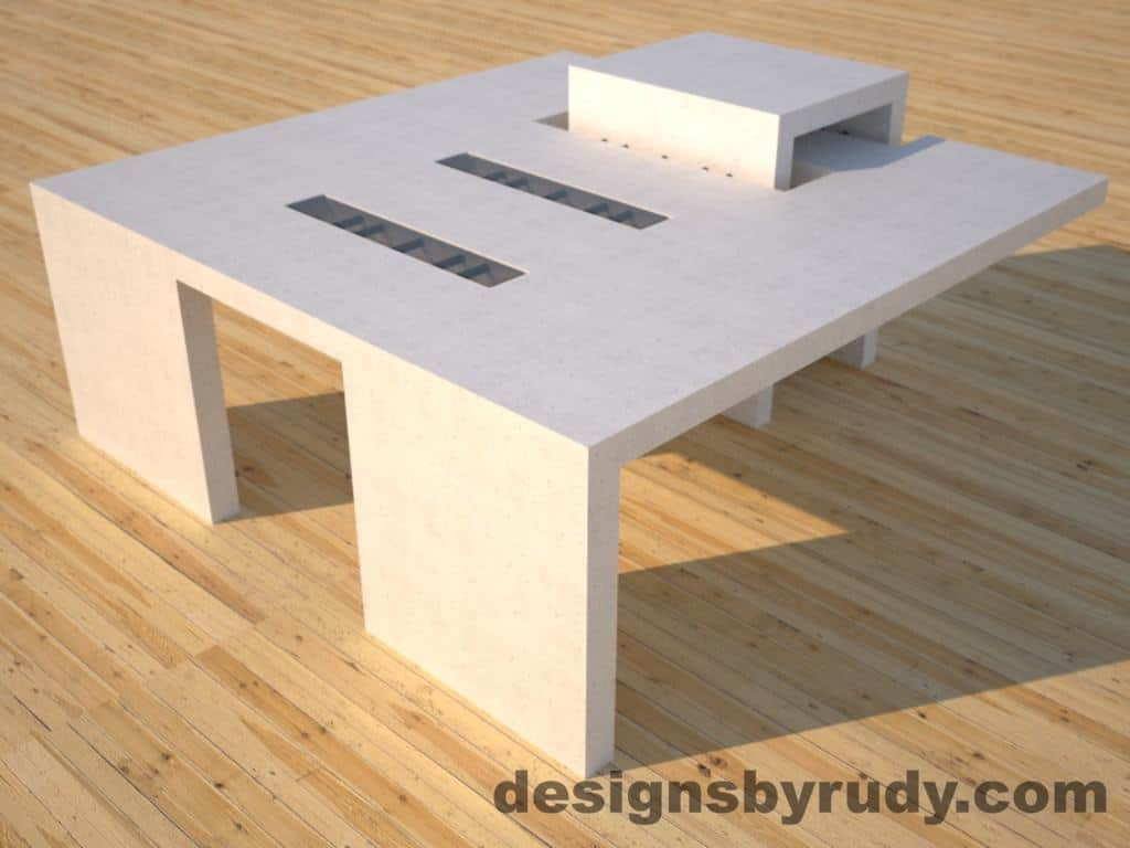 dr5 white concrete coffee table closed link square