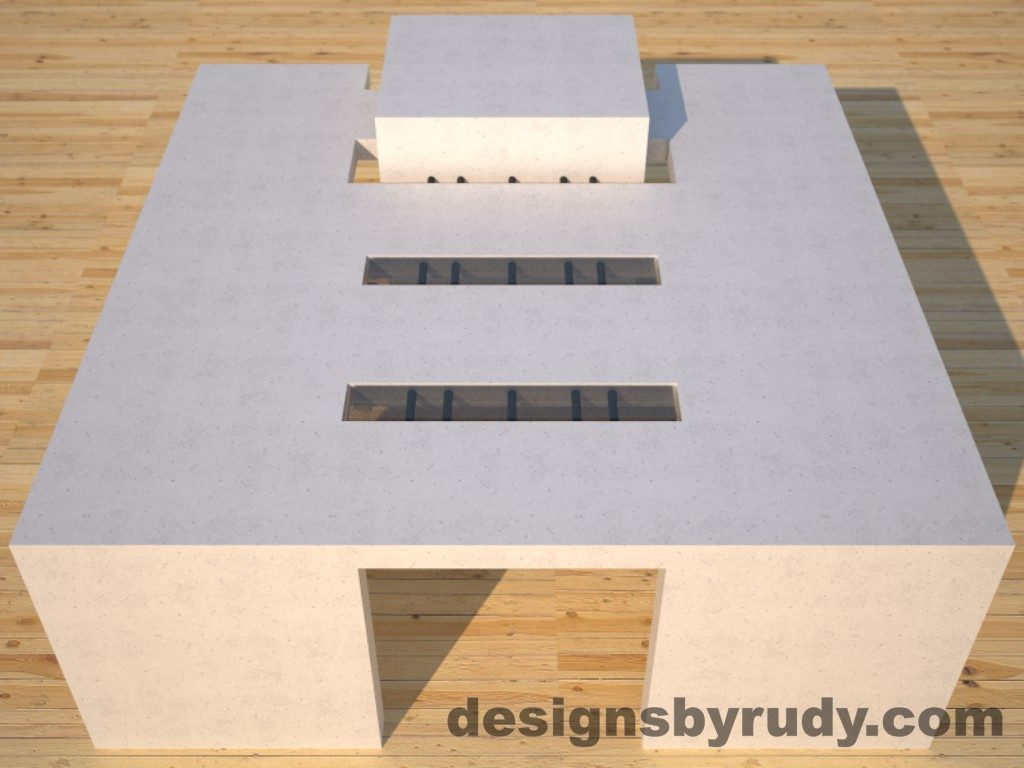 DR5 White Concrete Coffee Table with embedded metal rods and glass panes full front view, Designs by Rudy