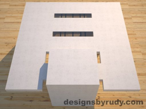 DR5 White Concrete Coffee Table with embedded metal rods and glass panes full rear view, Designs by Rudy