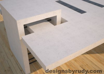 DR5 White Concrete Coffee Table with embedded metal rods and glass panes rear corner view 2, Designs by Rudy