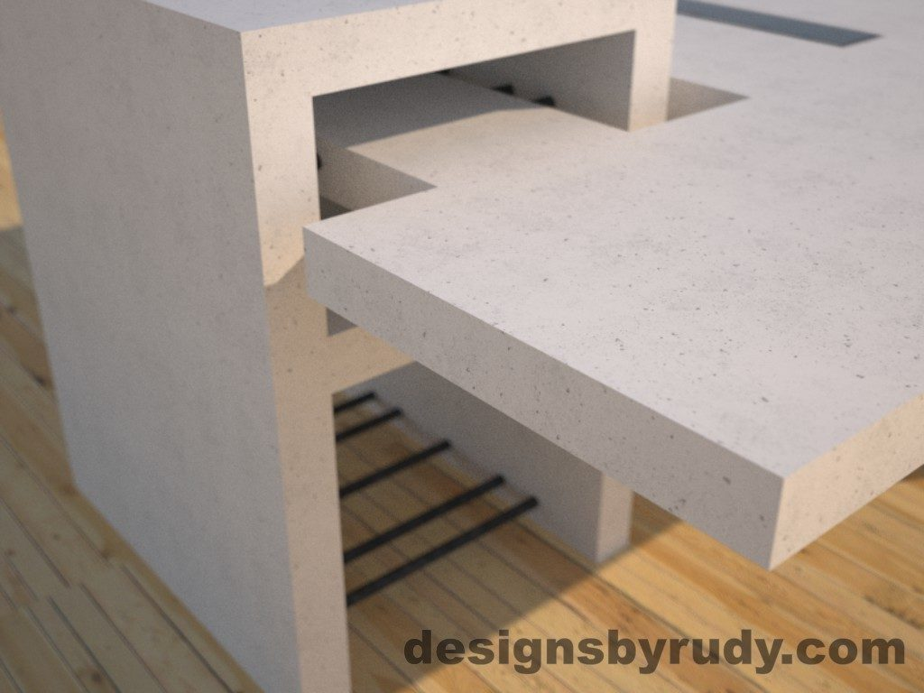 DR5 White Concrete Coffee Table with embedded metal rods and glass panes rear corner view, Designs by Rudy