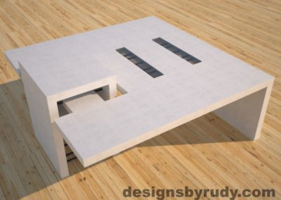 DR5 White Concrete Coffee Table with embedded metal rods and glass panes side angle view 2, Designs by Rudy