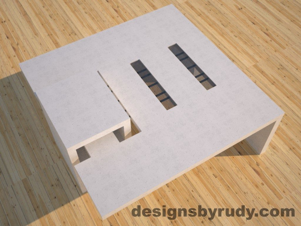 DR5 White Concrete Coffee Table with embedded metal rods and glass panes side angle view 3, Designs by Rudy
