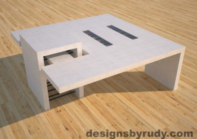 DR5 White Concrete Coffee Table with embedded metal rods and glass panes side angle view, Designs by Rudy