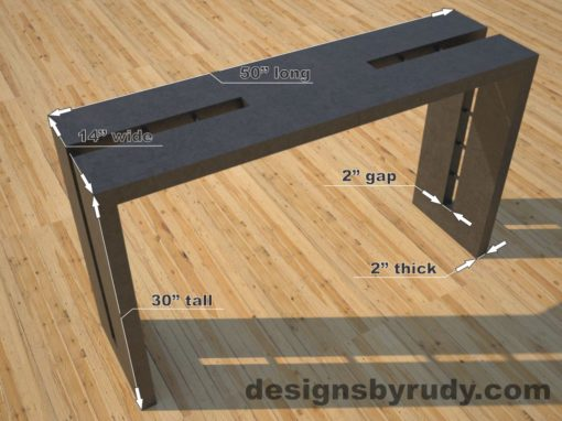 Double Split Charcoal Concrete Console Table dimensions, Designs by Rudy