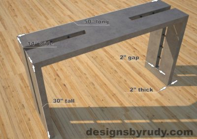 Double Split Gray Concrete Console Table dimensions, Designs by Rudy