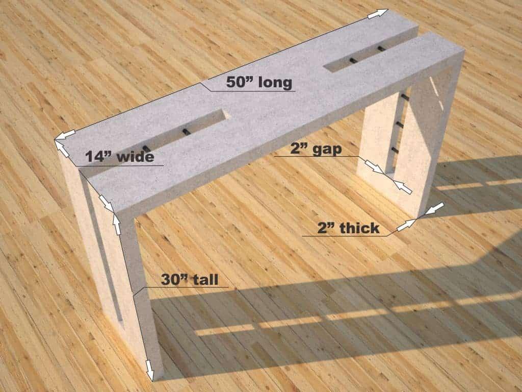 Double Split White Concrete Console Table dimensions, Designs by Rudy