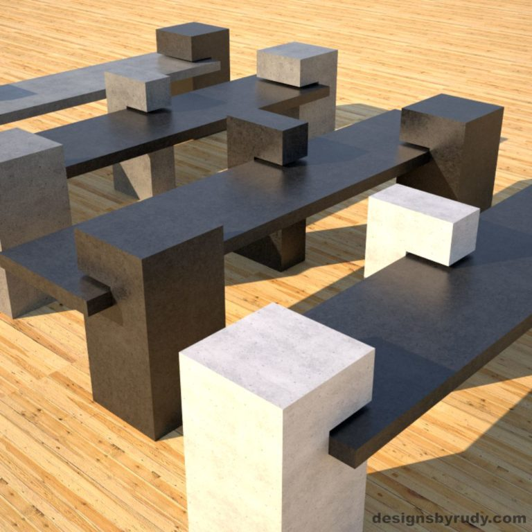 Four Concrete Benches, concrete slabs supported on square columns, 4 benches angle view, Designs by Rudy