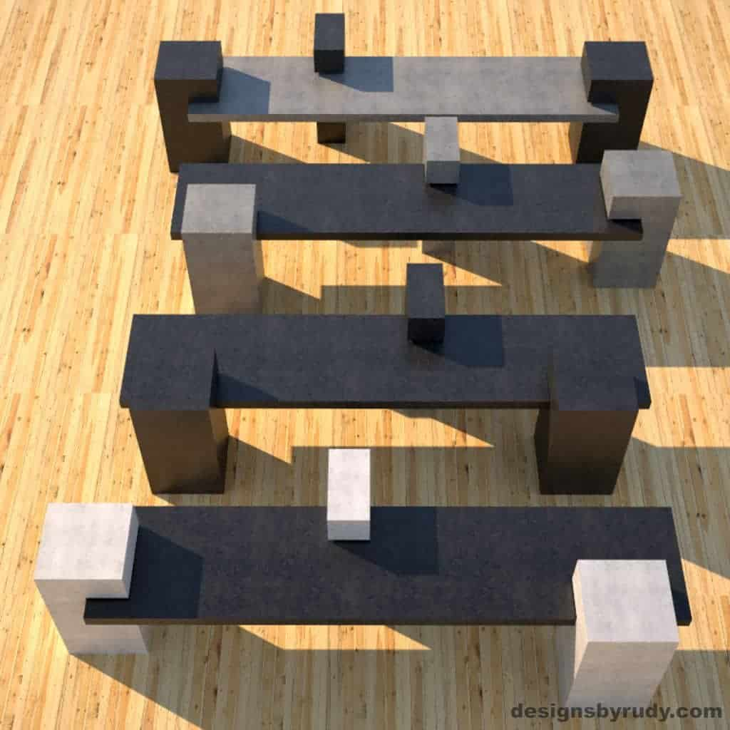 Four Concrete Benches, concrete slabs supported on square columns, 4 benches top view, Designs by Rudy