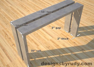 Full Split Gray Concrete Console Table dimensions, Designs by Rudy