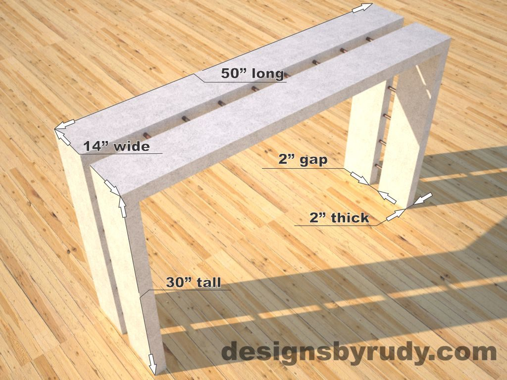 Full Split White Concrete Console Table dimensions, Designs by Rudy