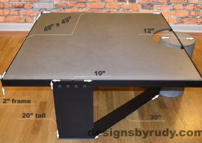 Gray Concrete Coffee Table, Black Steel Frame, dimensions, Designs by Rudy small