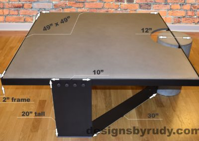 Gray Concrete Coffee Table, Black Steel Frame, dimensions, Designs by Rudy