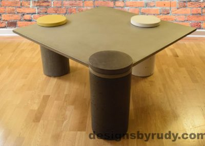 Gray Concrete Coffee Table, Charcoal Pillar Front, angle view no flash