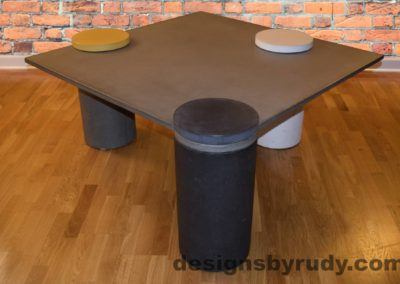 Gray Concrete Coffee Table, Charcoal Pillar Front, angle view with flash