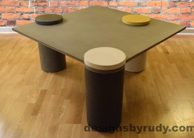 Gray Concrete Coffee Table, Charcoal Pillar and WHite Cap Front, angle view no flash