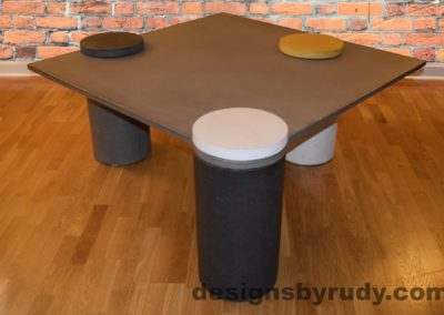 Gray Concrete Coffee Table, Charcoal Pillar and WHite Cap Front, angle view with flash