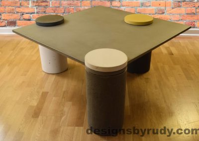 Gray Concrete Coffee Table, Charcoal Pillar and White Cap Front, Yellow Right, angle view no flash