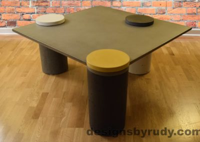 Gray Concrete Coffee Table, Charcoal Pillar and Yellow Cap Front, angle view no flash