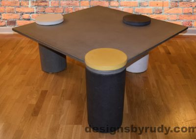Gray Concrete Coffee Table, Charcoal Pillar and Yellow Cap Front, angle view with flash