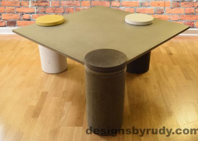 Gray Concrete Coffee Table, Gray Pillar and Charcoal Cap Front, angle view no flash