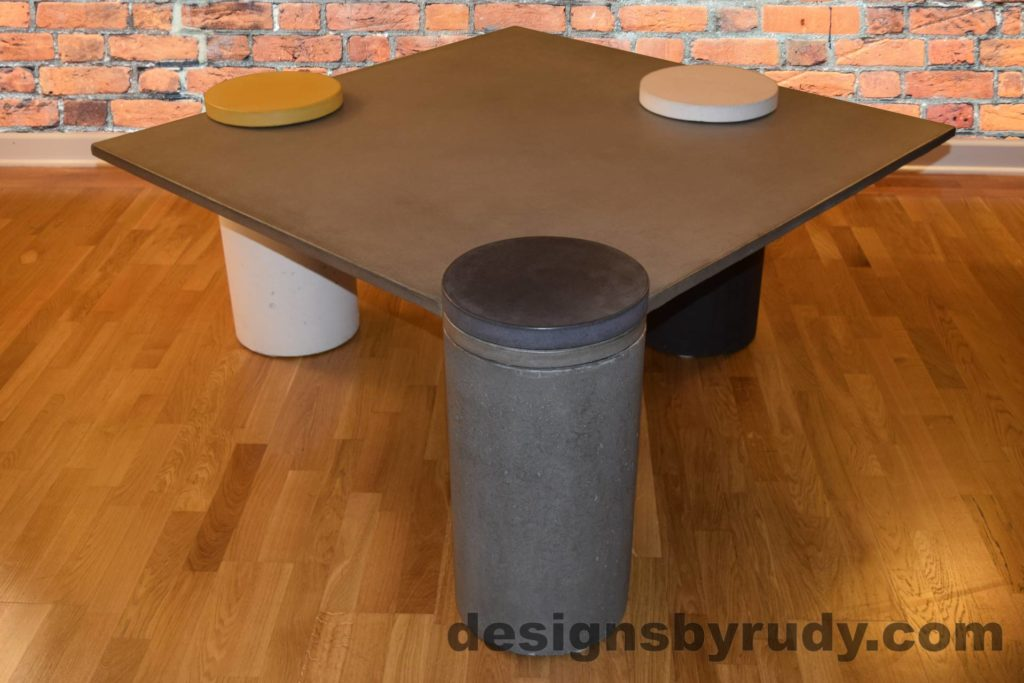 Gray Concrete Coffee Table, Gray Pillar and Charcoal Cap Front, angle view with flash