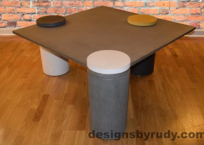 Gray Concrete Coffee Table, Gray Pillar and White Cap Front, angle view with flash