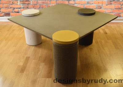 Gray Concrete Coffee Table, Gray Pillar and Yellow Cap Front, angle view no flash