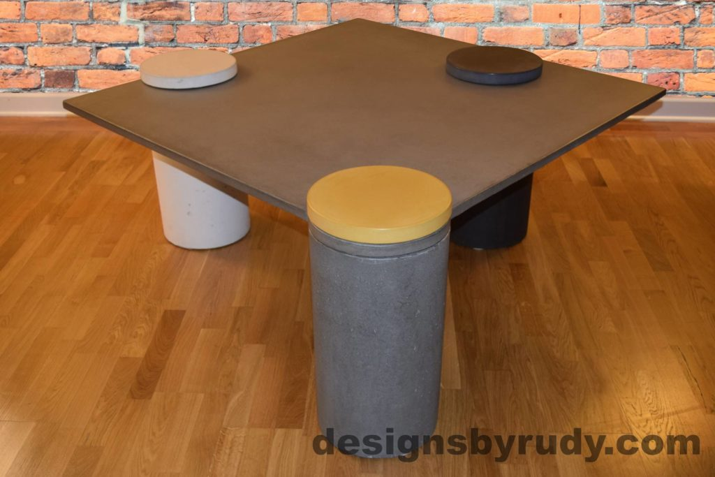 Gray Concrete Coffee Table, Gray Pillar and Yellow Cap Front, angle view with flash