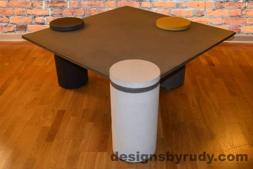 Gray Concrete Coffee Table, White Pillar Front, angle view with flash