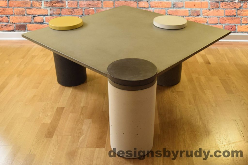 Gray Concrete Coffee Table, White Pillar and Charcoal Cap Front, angle view no flash