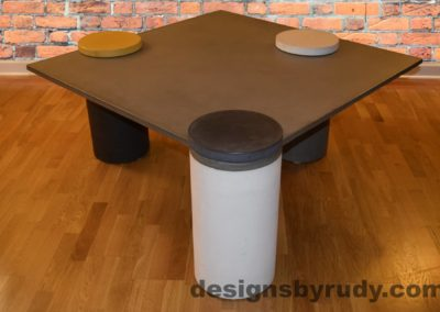 Gray Concrete Coffee Table, White Pillar and Charcoal Cap Front, angle view with flash
