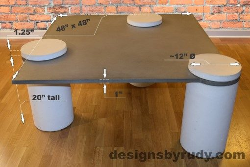 Gray Concrete Coffee Table, White Pillars, all White Caps dimensions, Designs by Rudy