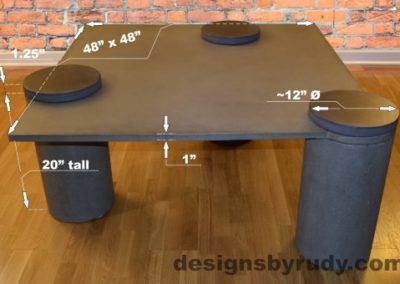 Gray Concrete Coffee Table dimensions, Pillars, Designs by Rudy