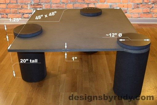 Gray Concrete Coffee Table dimensions - Pillars, Designs by Rudy