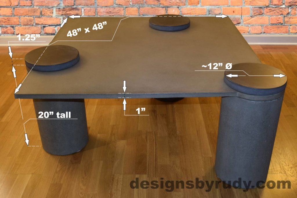 Gray Concrete Coffee Table dimensions, Pillars, Designs by Rudy L