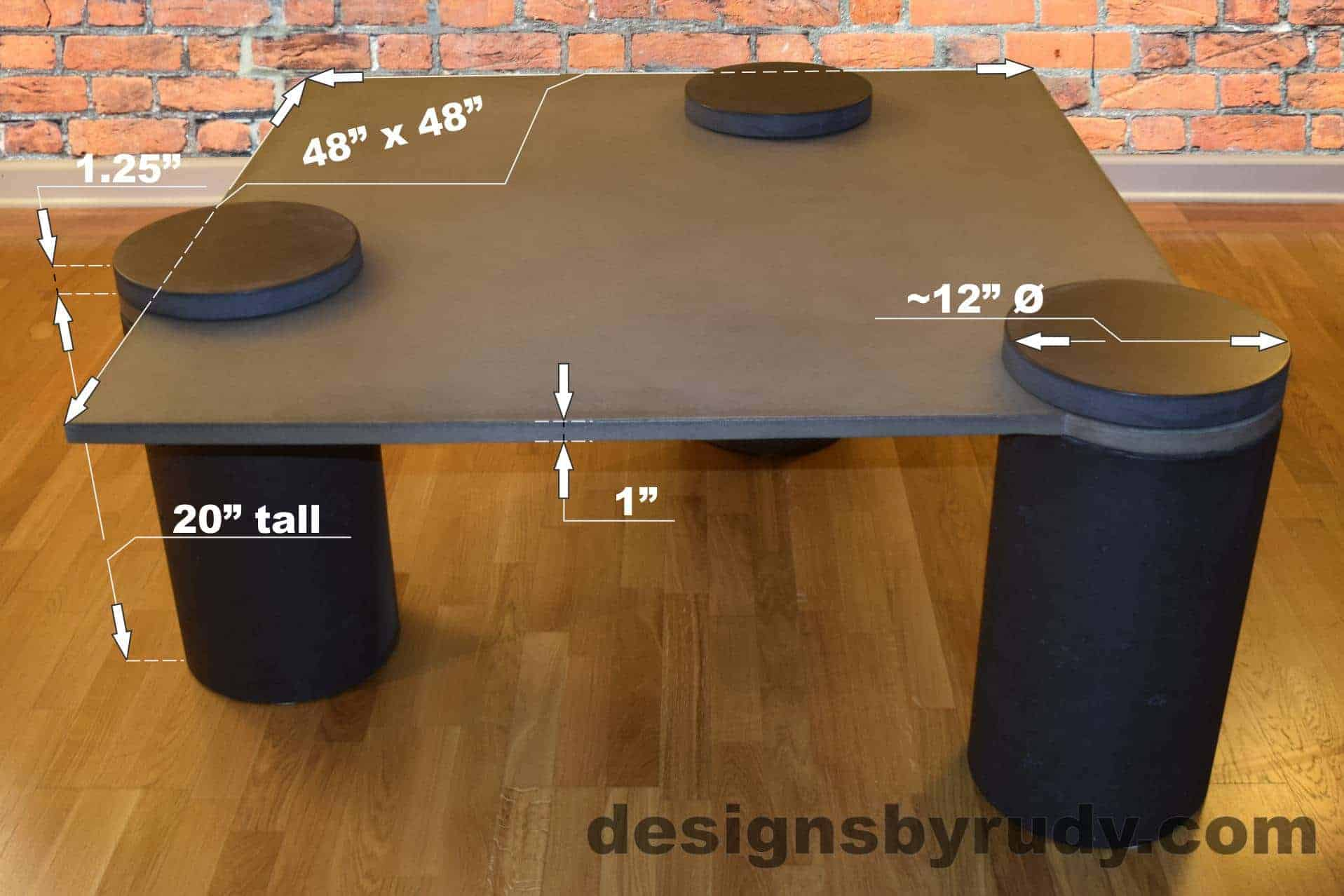 DR18 Gray Concrete Coffee Table dimensions - Pillars, Designs by Rudy L