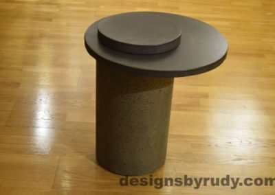 Gray Concrete Side Table, Charcoal Top and Cap, Pillars model, Designs by Rudy
