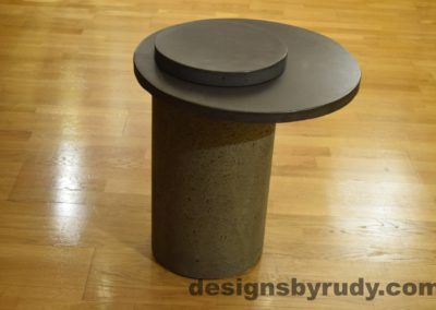 Gray Concrete Side Table, Charcoal Top and Cap, Pillars model, Designs by Rudy L