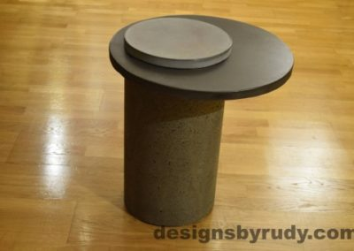 Gray Concrete Side Table, Charcoal Top and Gray Cap, Pillars model, Designs by Rudy