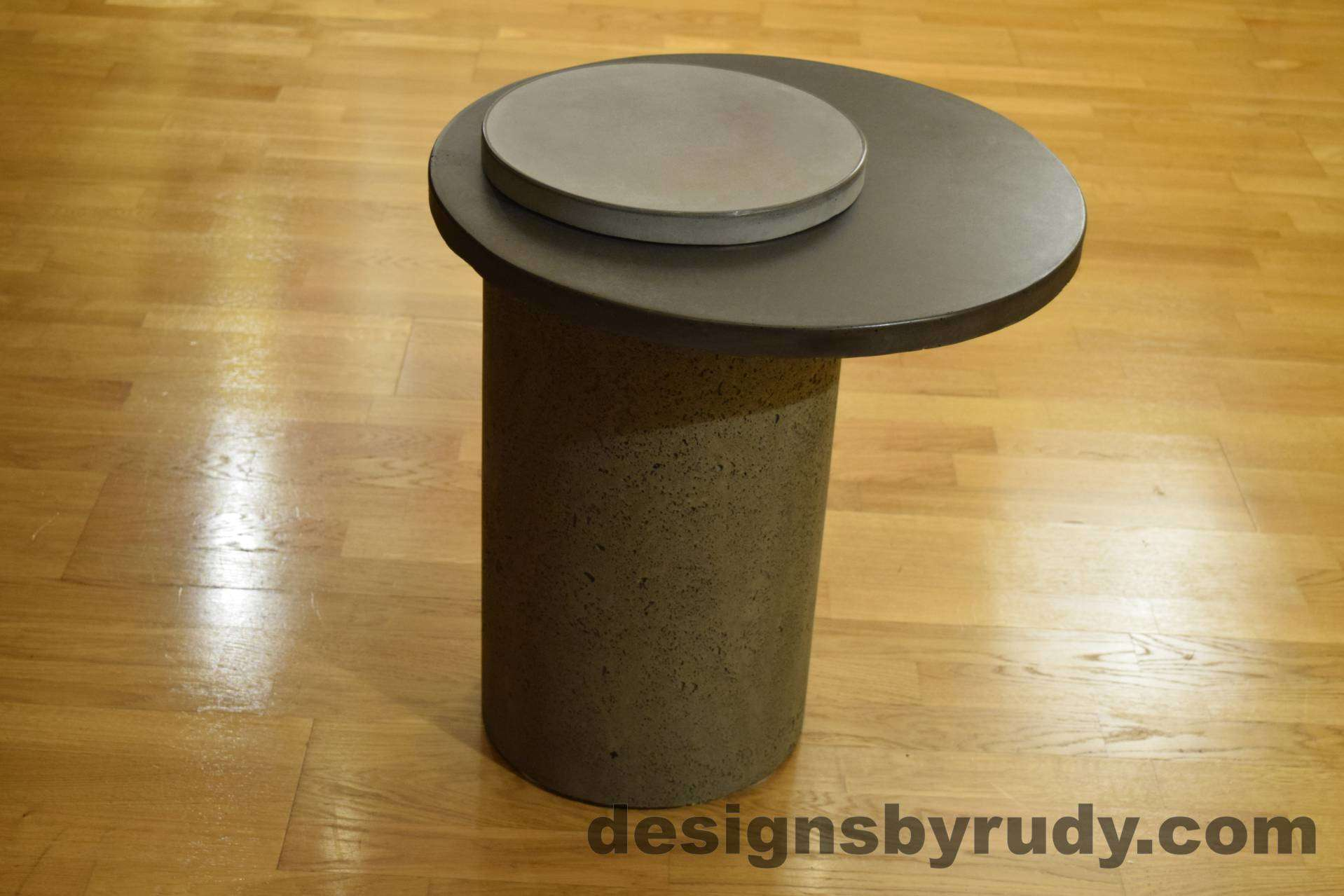 Gray Concrete Side Table, Charcoal Top and Gray Cap, Pillars model, Designs by Rudy L