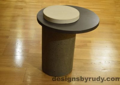 Gray Concrete Side Table, Charcoal Top and White Cap, Pillars model, Designs by Rudy