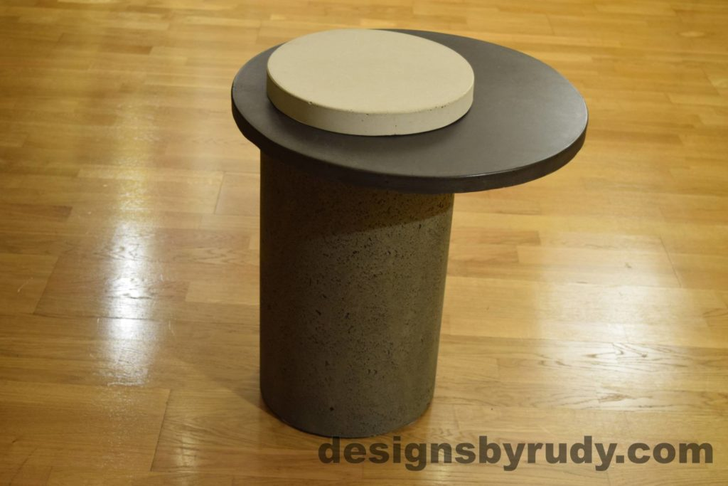 Gray Concrete Side Table, Charcoal Top and White Cap, Pillars model, Designs by Rudy L